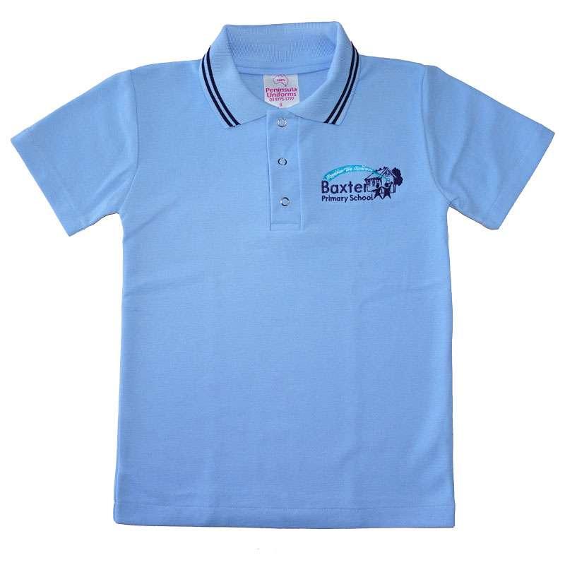 baxter primary short sleeve sky polo